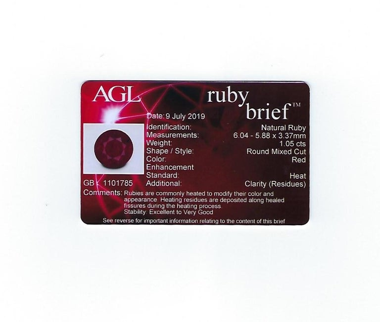 AGL Certified 1.05 Carat Round Ruby Diamond Gold Ring For Sale 4