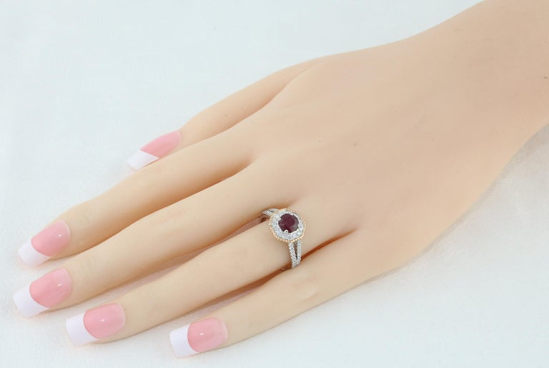 Contemporary AGL Certified 1.05 Carat Round Ruby Diamond Gold Ring For Sale