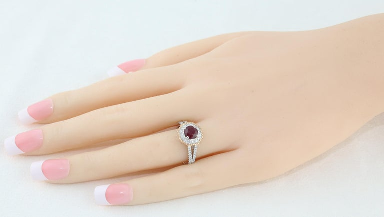 Round Cut AGL Certified 1.05 Carat Round Ruby Diamond Gold Ring For Sale