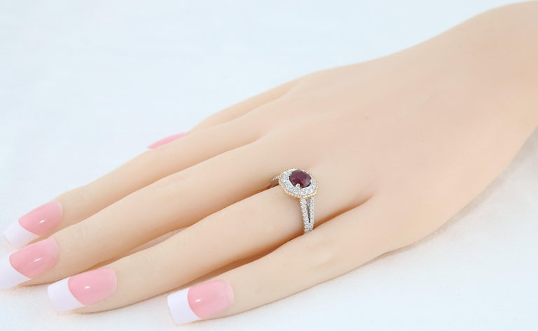 Women's AGL Certified 1.05 Carat Round Ruby Diamond Gold Ring For Sale