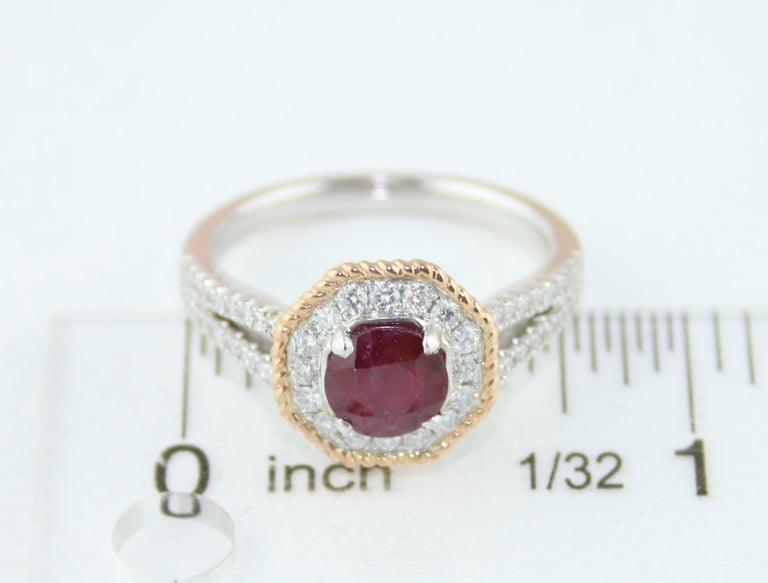 AGL Certified 1.05 Carat Round Ruby Diamond Gold Ring For Sale 3