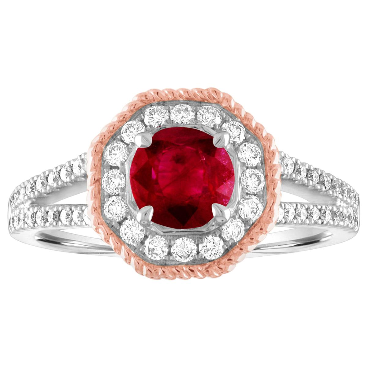 AGL Certified 1.05 Carat Round Ruby Diamond Gold Ring