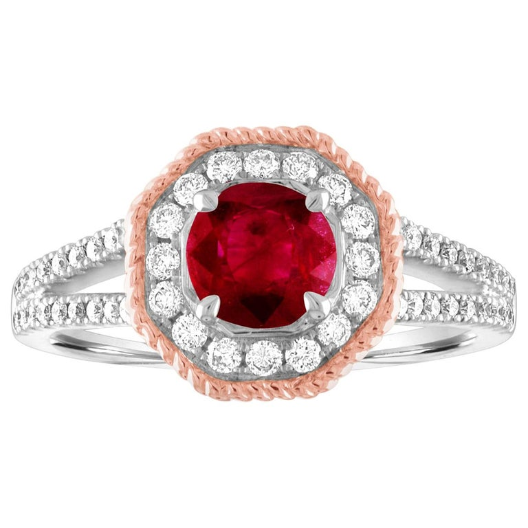 AGL Certified 1.05 Carat Round Ruby Diamond Gold Ring For Sale