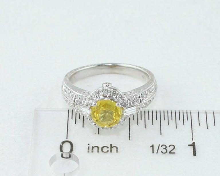 AGL Certified 1.05 Carat Yellow Sapphire Diamond Gold Milgrain Filigree Ring For Sale 4