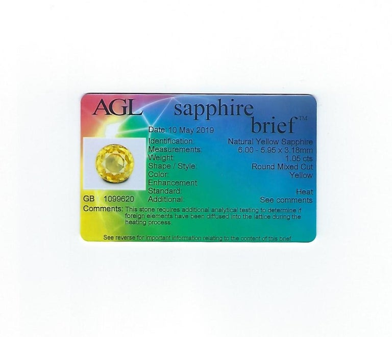 AGL Certified 1.05 Carat Yellow Sapphire Diamond Gold Milgrain Filigree Ring For Sale 5