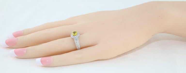 AGL Certified 1.05 Carat Yellow Sapphire Diamond Gold Milgrain Filigree Ring For Sale 1