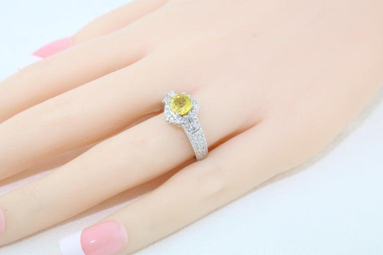 AGL Certified 1.05 Carat Yellow Sapphire Diamond Gold Milgrain Filigree Ring For Sale 3