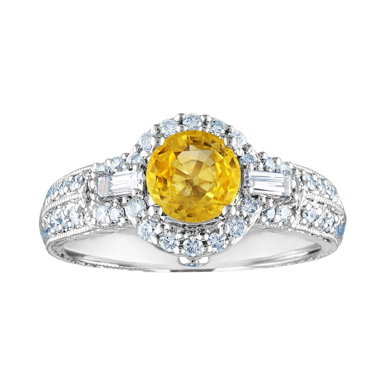 AGL Certified 1.05 Carat Yellow Sapphire Diamond Gold Milgrain Filigree Ring