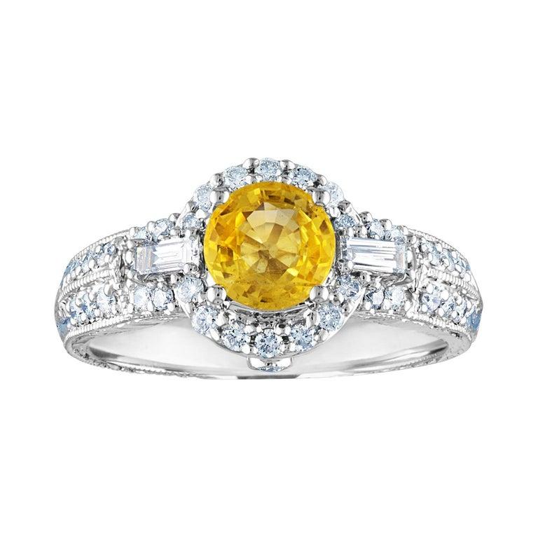 AGL Certified 1.05 Carat Yellow Sapphire Diamond Gold Milgrain Filigree Ring For Sale