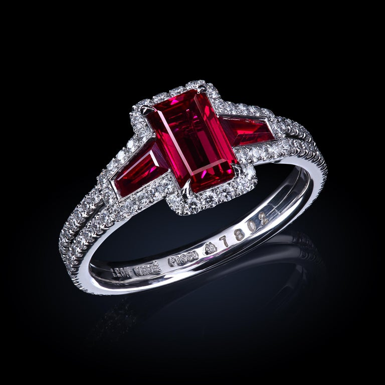 Women's AGL Certified 1.06 ct Emerald-Cut Ruby Three-Stone Platinum Ring with Micro Pave For Sale