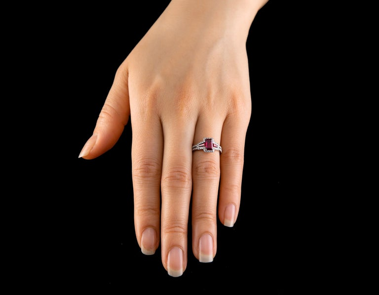 AGL Certified 1.06 ct Emerald-Cut Ruby Three-Stone Platinum Ring with Micro Pave For Sale 1