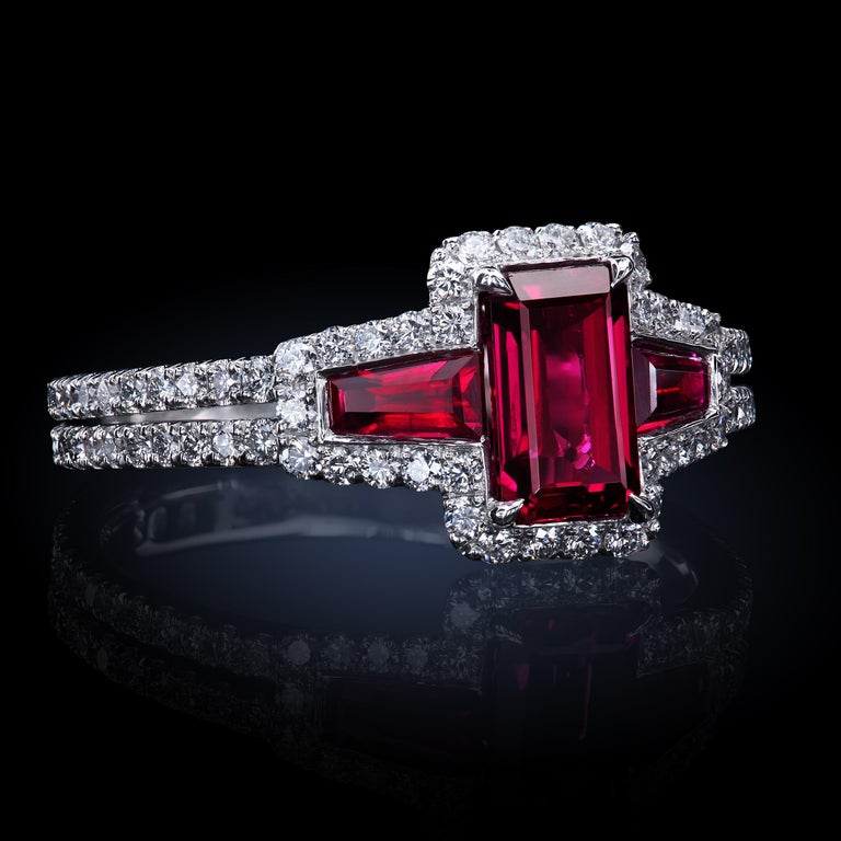 AGL Certified 1.06 ct Emerald-Cut Ruby Three-Stone Platinum Ring with Micro Pave For Sale 2