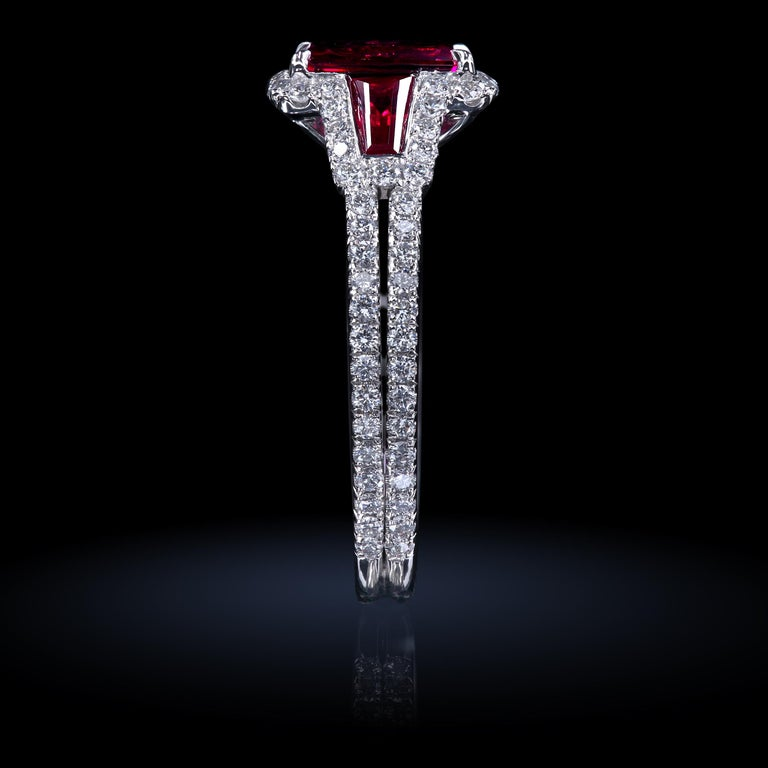 Emerald Cut AGL Certified 1.06 ct Emerald-Cut Ruby Three-Stone Platinum Ring with Micro Pave For Sale