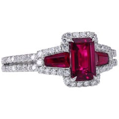 AGL Certified 1.06 ct Emerald-Cut Ruby Three-Stone Platinum Ring with Micro Pave