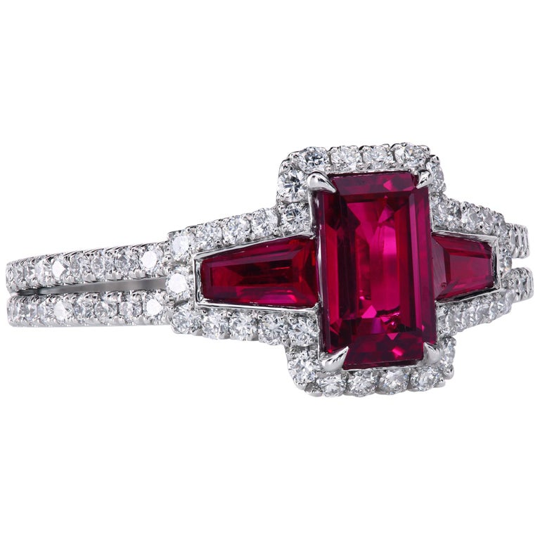 AGL Certified 1.06 ct Emerald-Cut Ruby Three-Stone Platinum Ring with Micro Pave For Sale