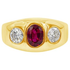 AGL Certified 1.08 Carat Ruby and Diamond Three-Stone Men's Ring