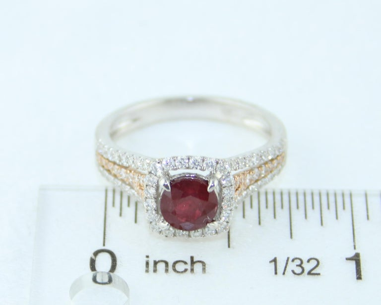 AGL Certified 1.09 Carat Round Ruby Diamond Gold Ring For Sale 4