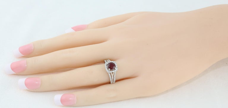 Round Cut AGL Certified 1.09 Carat Round Ruby Diamond Gold Ring For Sale