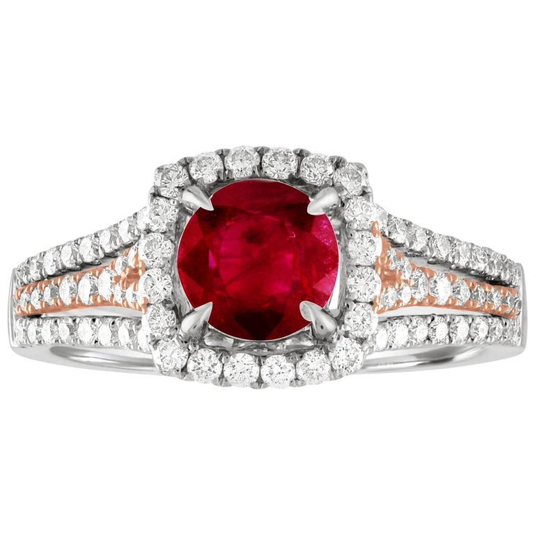 AGL Certified 1.09 Carat Round Ruby Diamond Gold Ring For Sale