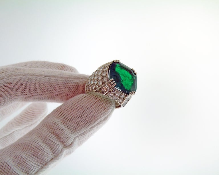 Women's AGL Certified 11.38 Carat Colombian Emerald Cocktail Ring For Sale