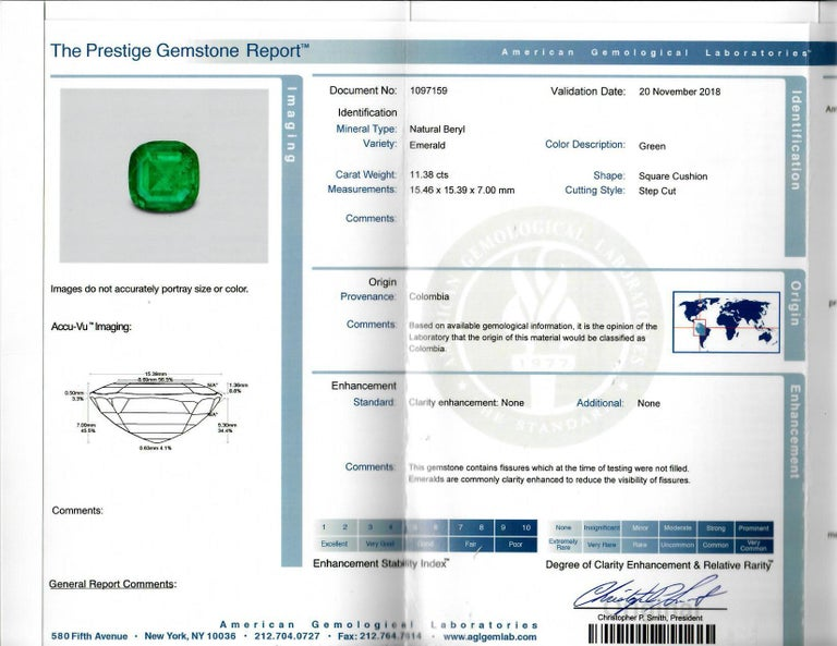 AGL Certified 11.38 Carat Colombian Emerald Cocktail Ring For Sale 1