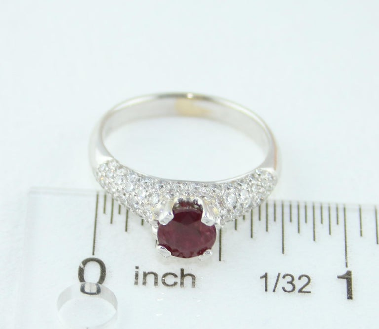 AGL Certified 1.14 Carat Round Ruby Diamond Gold Pave Ring For Sale 4