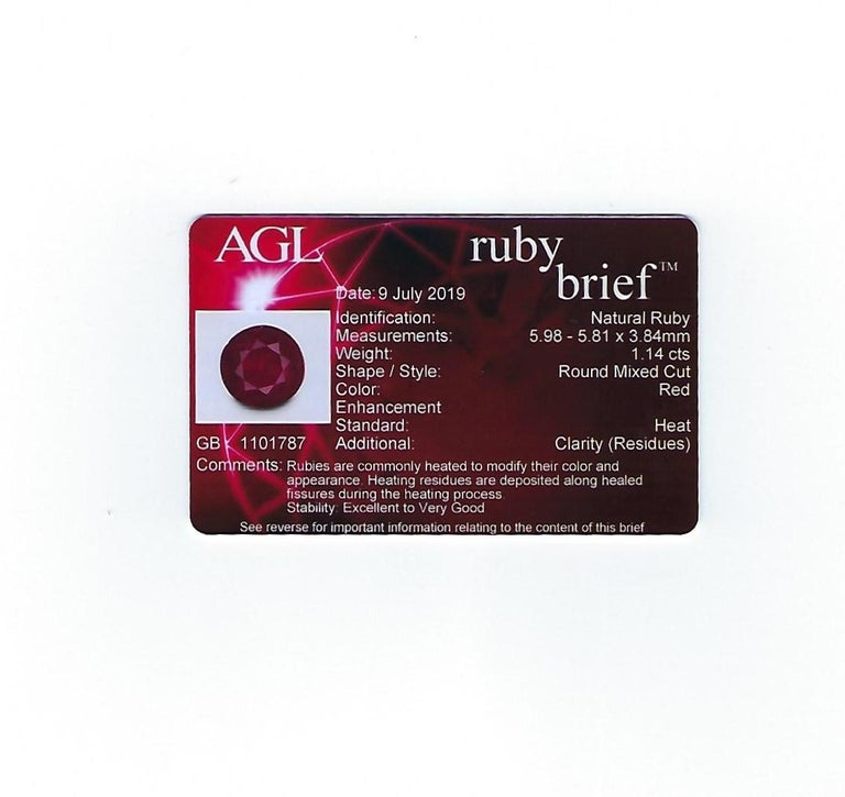 AGL Certified 1.14 Carat Round Ruby Diamond Gold Pave Ring For Sale 5