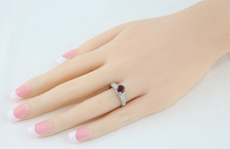 Contemporary AGL Certified 1.14 Carat Round Ruby Diamond Gold Pave Ring For Sale