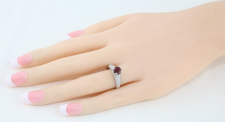 Round Cut AGL Certified 1.14 Carat Round Ruby Diamond Gold Pave Ring For Sale