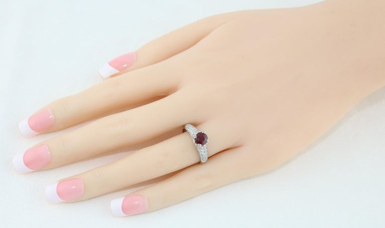 Women's AGL Certified 1.14 Carat Round Ruby Diamond Gold Pave Ring For Sale