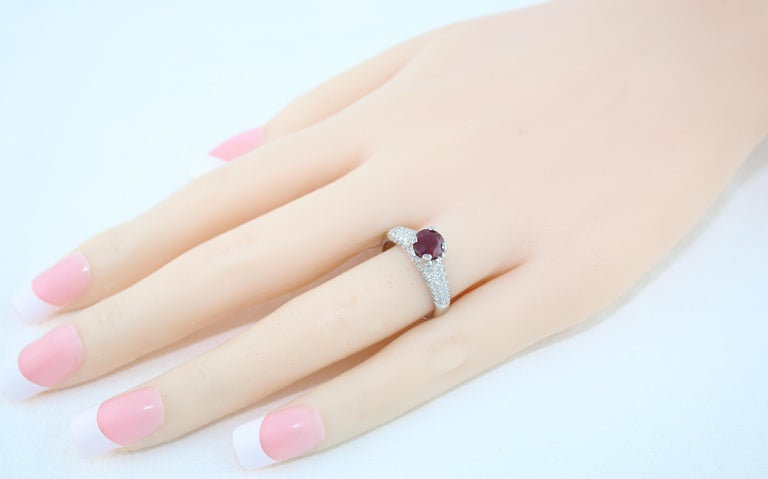 AGL Certified 1.14 Carat Round Ruby Diamond Gold Pave Ring For Sale 3