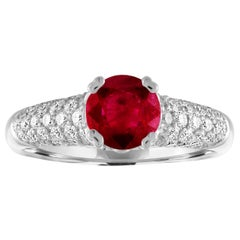 AGL Certified 1.14 Carat Round Ruby Diamond Gold Pave Ring