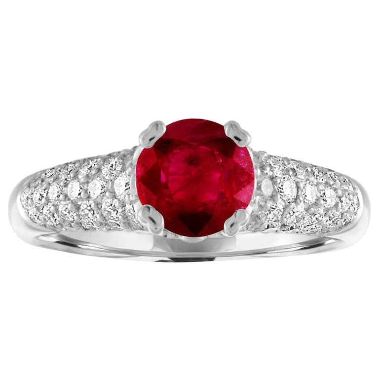 AGL Certified 1.14 Carat Round Ruby Diamond Gold Pave Ring For Sale