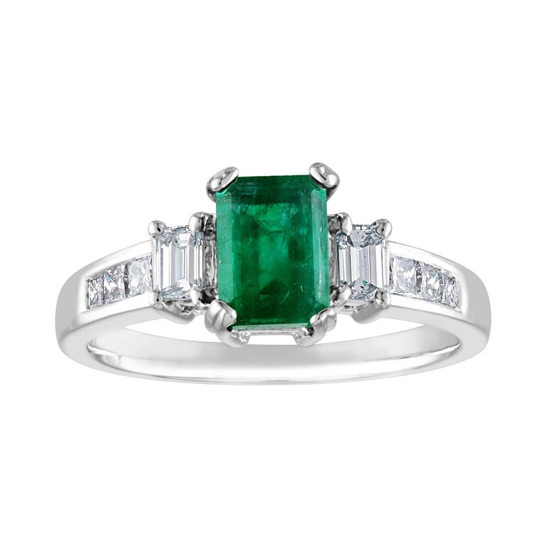 AGL Certified 1.15 Carat Emerald Three-Stone Diamond Gold Ring For Sale