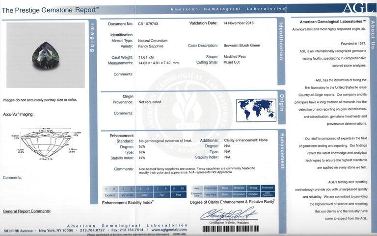 AGL Certified 11.61 Carat No Heat Bluish Green Sapphire Diamond Ring For Sale 4