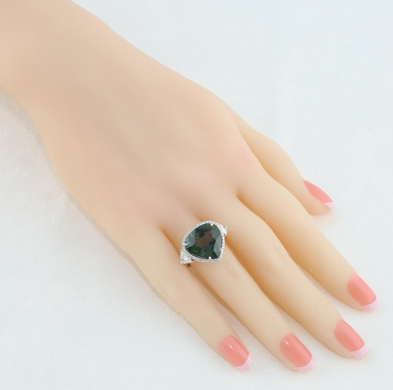 Pear Cut AGL Certified 11.61 Carat No Heat Bluish Green Sapphire Diamond Ring For Sale