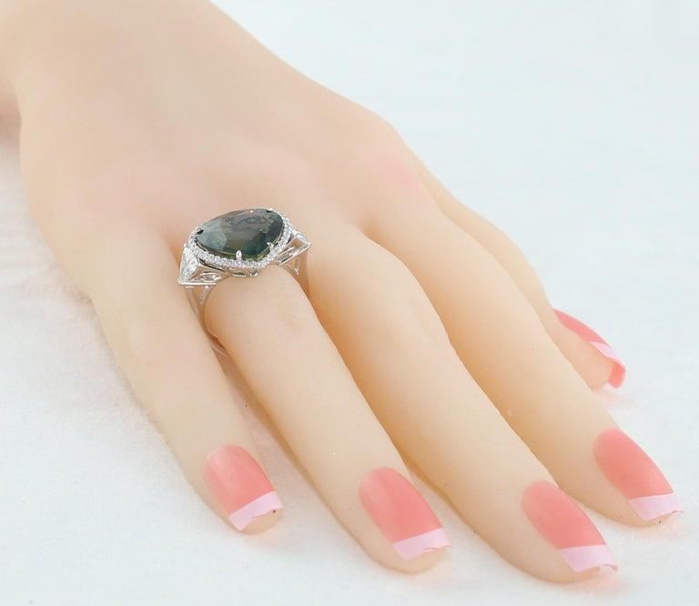 AGL Certified 11.61 Carat No Heat Bluish Green Sapphire Diamond Ring For Sale 1