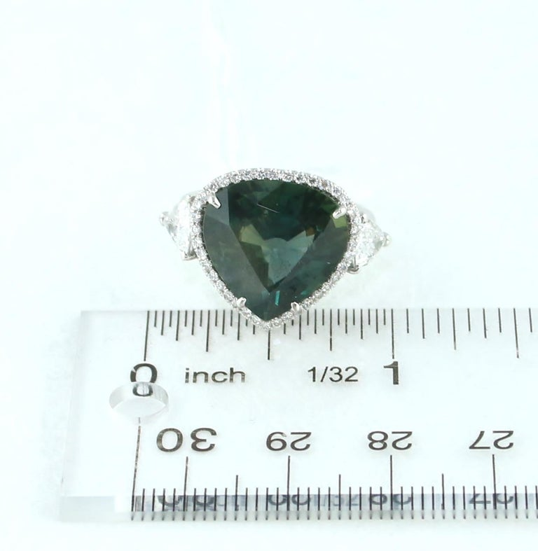 AGL Certified 11.61 Carat No Heat Bluish Green Sapphire Diamond Ring For Sale 3