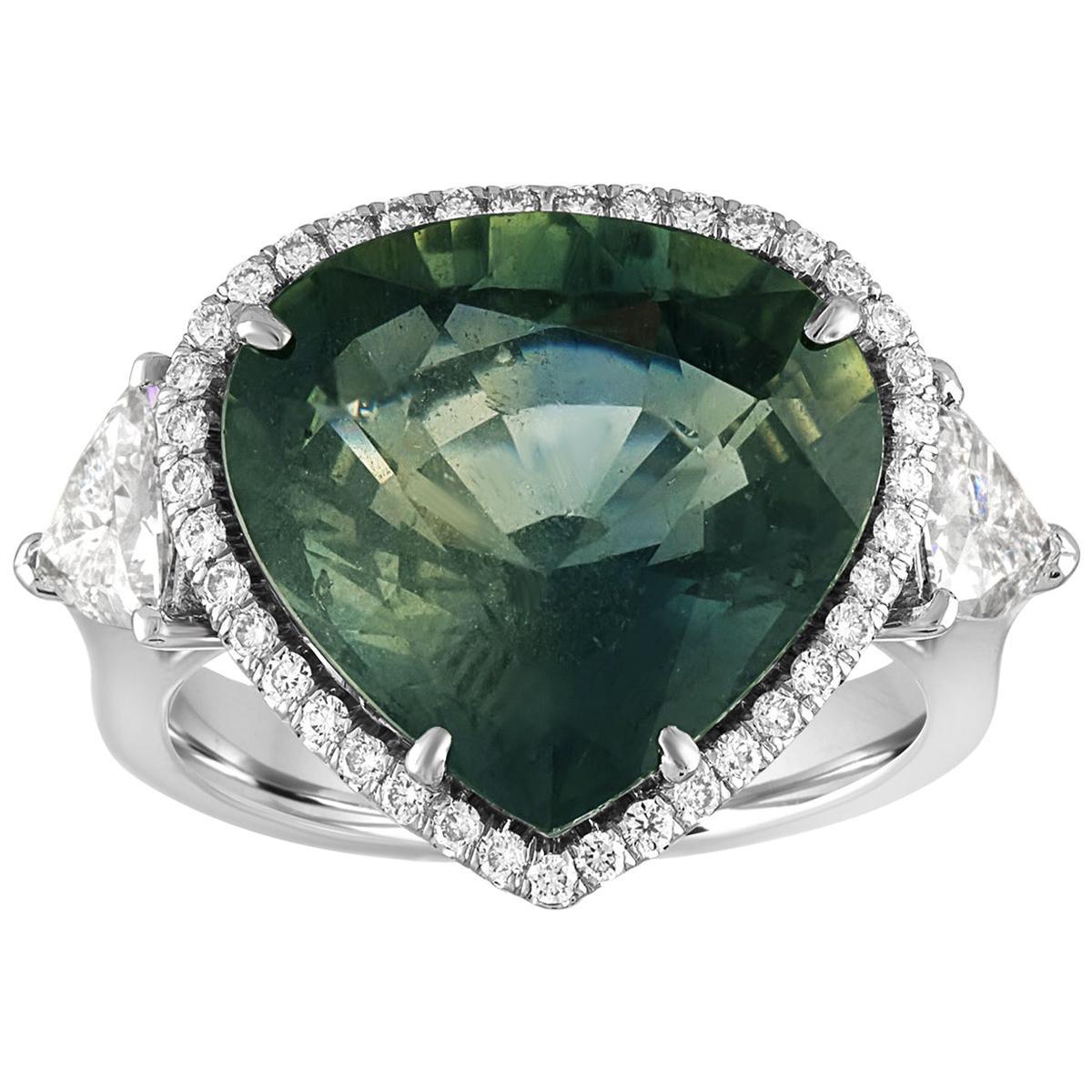 AGL Certified 11.61 Carat No Heat Bluish Green Sapphire Diamond Ring