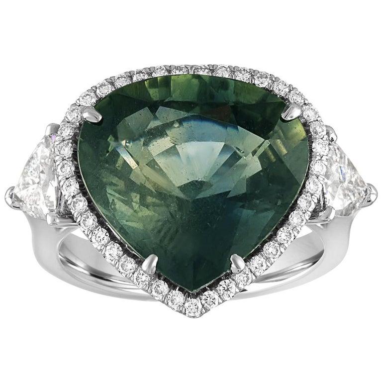 AGL Certified 11.61 Carat No Heat Bluish Green Sapphire Diamond Ring For Sale