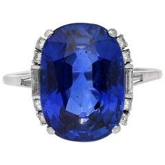 AGL Certified 11.63 Carat Unheated Burma Sapphire and White Diamond Gold Ring