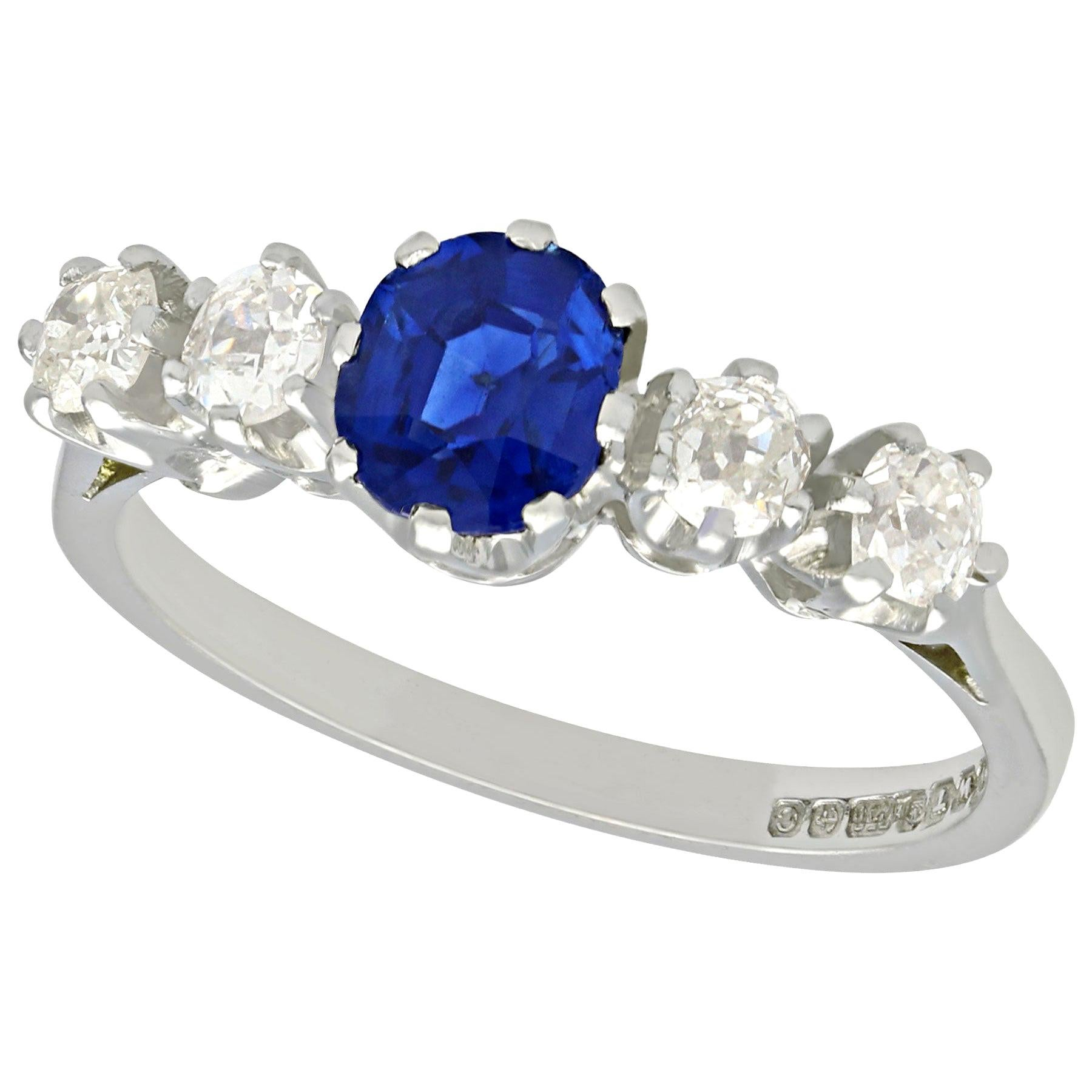 AGL Certified 1.19 Carat Sapphire and Diamond White Gold Ring