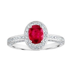 AGL Certified 1.29 Carat Burma Ruby and Diamond Halo Gold Milgrain Ring