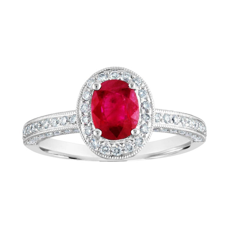 AGL Certified 1.29 Carat Burma Ruby and Diamond Halo Gold Milgrain Ring For Sale