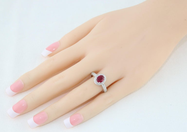 Contemporary AGL Certified 1.29 Carat Burma Ruby and Diamond Halo Gold Milgrain Ring For Sale