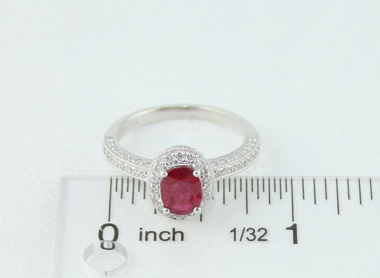 Women's AGL Certified 1.29 Carat Burma Ruby and Diamond Halo Gold Milgrain Ring For Sale