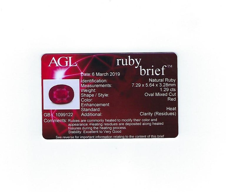 AGL Certified 1.29 Carat Burma Ruby and Diamond Halo Gold Milgrain Ring For Sale 1