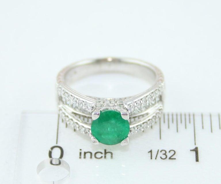 AGL Certified 1.30 Carat Emerald Diamond Gold Milgrain Filigree Ring For Sale 4
