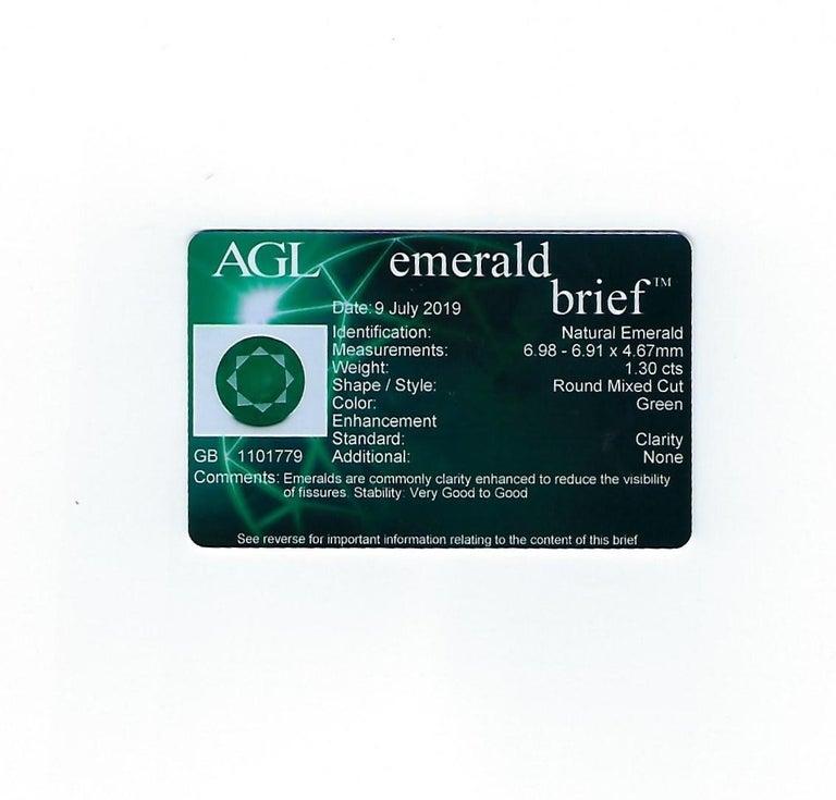 AGL Certified 1.30 Carat Emerald Diamond Gold Milgrain Filigree Ring For Sale 5