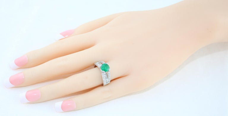 AGL Certified 1.30 Carat Emerald Diamond Gold Milgrain Filigree Ring In New Condition For Sale In New York, NY